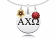Alpha Chi Omega Necklace with Flower and Crystal Ball Accents