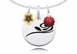 Alpha Gamma Delta Necklace with Flower and Crystal Ball Accents