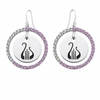 Alpha Chi Omega Pink CZ Circle Earrings