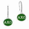 Alpha Chi Omega Sterling Silver and CZ Drop Earrings
