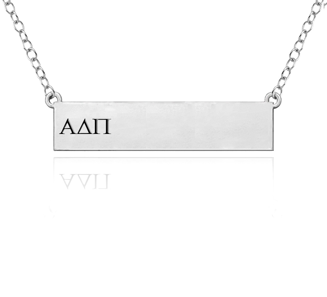 Wholesale Alpha Delta Pi Sterling Silver Bar Style Necklace