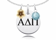 Alpha Delta Pi Necklace with Flower and Crystal Ball Accents