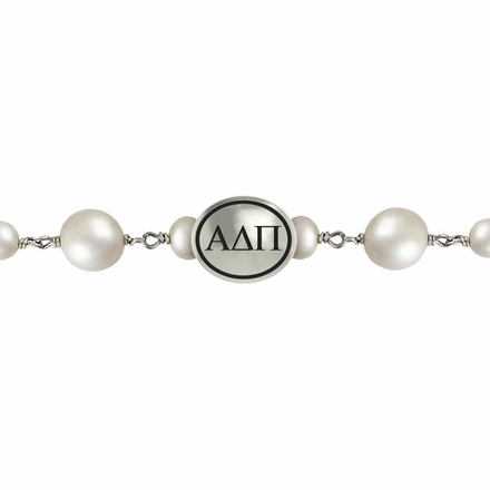 Alpha Delta Pi Oval Tin Cup Cultured Freshwater Pearl Bracelet