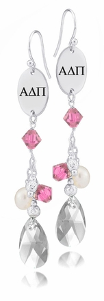 Alpha Delta Pi Pink Crystal and Pearl Earrings