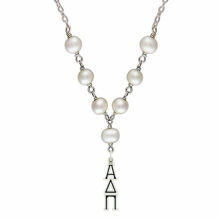 Alpha Delta Pi Tin Cup Pearl Necklace