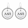 Alpha Delta Pi White CZ Circle Earrings