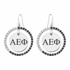 Alpha Epsilon Phi Black and White CZ Circle Earrings
