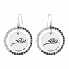 Alpha Gamma Delta Rose Black and White CZ Circle Earrings