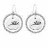 Alpha Gamma Delta White CZ Circle Earrings