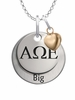Alpha Omega Epsilon BIG Necklace with Heart Accent