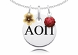Alpha Omicron Pi Necklace with Flower and Crystal Ball Accents
