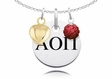Alpha Omicron Pi Necklace with Heart and Crystal Ball Accents