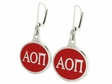 Alpha Omicron Pi Silver Earrings