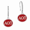 Alpha Omicron Pi Sterling Silver and CZ Drop Earrings