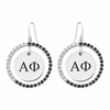 Alpha Phi Black and White CZ Circle Earrings