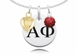 Alpha Phi Necklace with Heart and Crystal Ball Accents