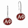 Alpha Phi Sterling Silver and CZ Drop Earrings