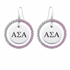 Alpha Sigma Alpha Pink CZ Circle Earrings