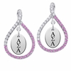 Alpha Sigma Alpha Pink CZ Figure 8 Earrings
