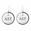 Alpha Sigma Tau Black and White CZ Circle Earrings