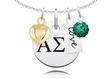 Alpha Sigma Tau Cluster Necklace With Heart, Color and Love