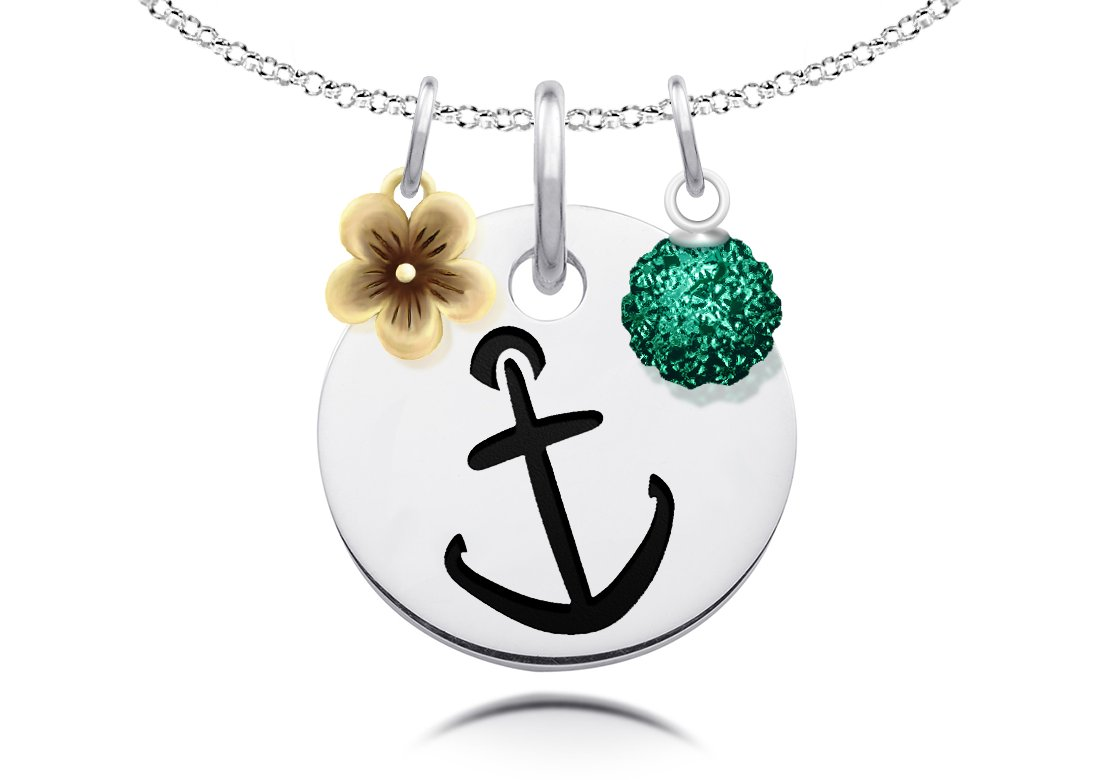DiamondJewelryNY Ill Hold You in My Heart Pendant with a Rose Swarovski Stone on an 24 Inch Chain