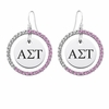 Alpha Sigma Tau Pink CZ Circle Earrings