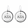 Alpha Xi Delta Black and White CZ Circle Earrings