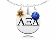 Alpha Xi Delta Necklace with Flower and Crystal Ball Accents