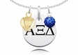 Alpha Xi Delta Necklace with Heart and Crystal Ball Accents