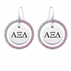 Alpha Xi Delta Pink CZ Circle Earrings