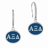 Alpha Xi Delta Sterling Silver and CZ Drop Earrings