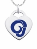 Angelo State Rams Logo Heart Pendant With Color