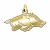 Arkansas Razorbacks 14K Yellow Gold Natural Finish Cut Out Logo Charm