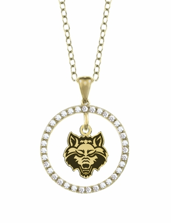 Arkansas State Red Wolves Gold and Diamond Circle Pendant