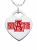 Arkansas State Red Wolves Logo Heart Pendant With Color