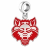Arkansas State Red Wolves Silver Logo and School Color Drop Charm