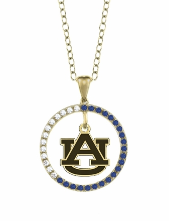 Auburn Tigers Sapphire and Diamond Necklace