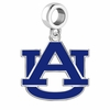 Auburn Tigers Silver Logo and School Color Drop Charm