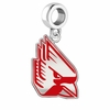 Ball State Cardinals Silver Logo and School Color Drop Charm