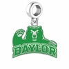 Baylor Bears Silver Logo and School Color Drop Charm