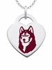 Bloomsburg Huskies Logo Heart Pendant With Color