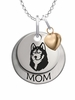 Bloomsburg Huskies MOM Necklace with Heart Charm