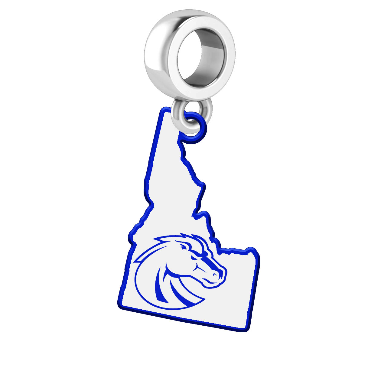 Boise State Broncos Dangle Charm With The State Cutout And School Logo