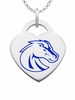 Boise State Broncos Logo Heart Pendant With Color