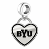 Brigham Young Cougars Border Heart Dangle Charm