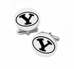 Brigham Young Cougars Cufflinks Stainless Steel Round Top