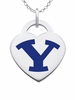 Brigham Young Cougars Logo Heart Pendant With Color