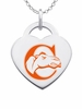 Campbell Fighting Camels Logo Heart Pendant With Color