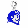 Central Connecticut Blue Devils Silver Logo and School Color Drop Charm
